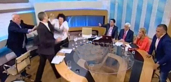 Greek MP Attack Ilias Kassidiaris Liana Kanellis Greece Parliament