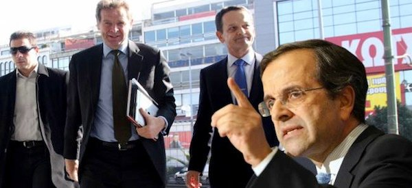 Greek Prime Minister Antonis Samaras has a tough balancing act with the Troika and unions