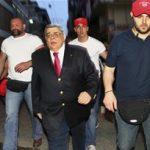 Golden Dawn leader Nikolaos Michaloliakos (C) with his followers