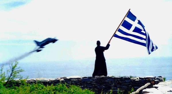 Monk Joseph waving at a Greek Aircraft