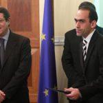 Cypriot President Nicos Anasastiades (L) with new Finance Minister Haris Georgiades