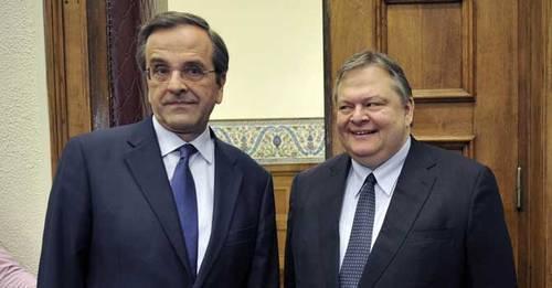 "The ""NeaPASOKcratia"" government: Prime Minister Antonis Samaras (L) with PASOK leader Evangelos Venizelos"