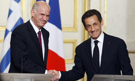 They were all smiles here but then-French President Nicolas Sarkozy (R) didnt think much of then-Greek PM George Papandreou