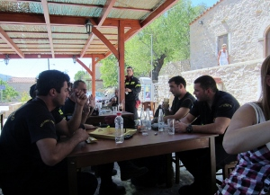 Fire fighters resting at local tavern