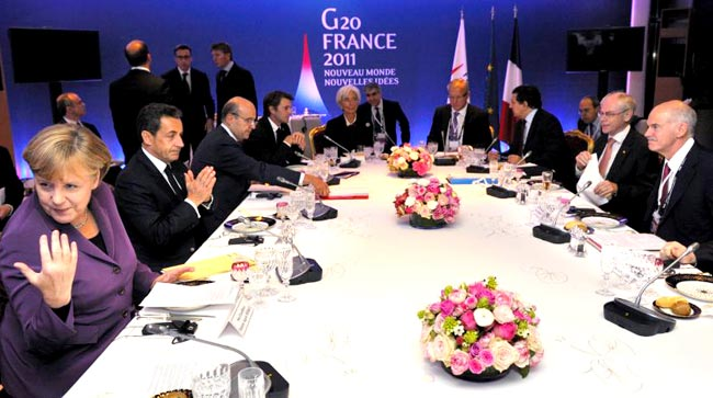 France's President Nicolas Sarkozy tore into Greek Prime Minister George Papandreou's plan to hold a referundum during the G20 summit in Cannes, France.