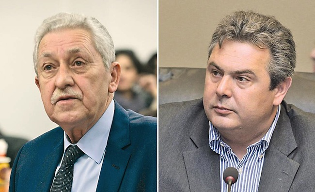 DIMAR leader Fotis Kouvelis (L) and Independent Greeks chief Panos Kammenos