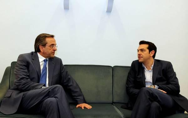 It's Prime Minister Antonis Samaras (L) against SYRIZA's Alexis Tsipras