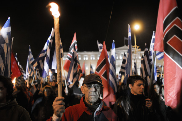 Golden Dawn Zealots outside Parliament in Syntagma Square
