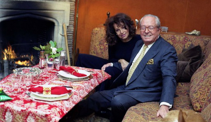 Jany Le Pen (née Paschos) with her husband, former National Front leader Jean-Marie Le Pen.