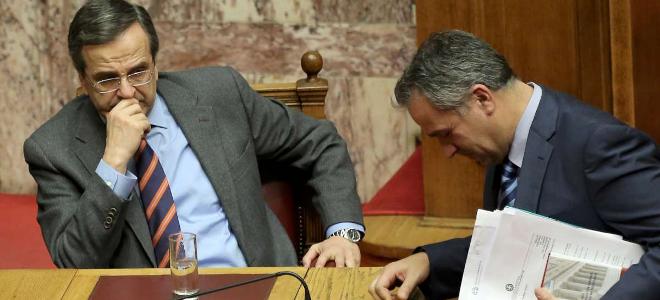 Greek Prime Minister Antonis Samaras (L) has embraced former LAOS extremist Makis Voridis
