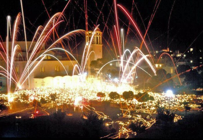 Fireworks in Athens after the Resurrection of Christ liturgy