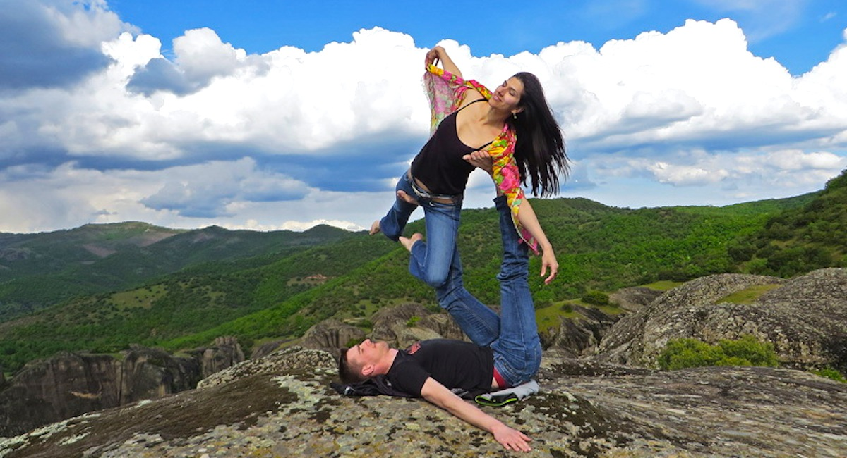 Practicing yoga at Meteora, Greece in summer