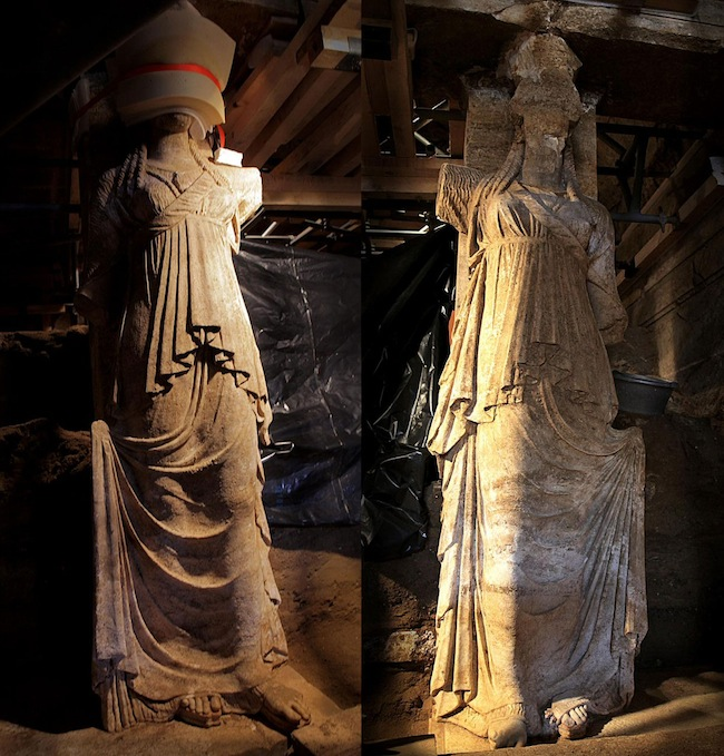 Figure 2. The entire bodies of the Amphipolis caryatids now revealed