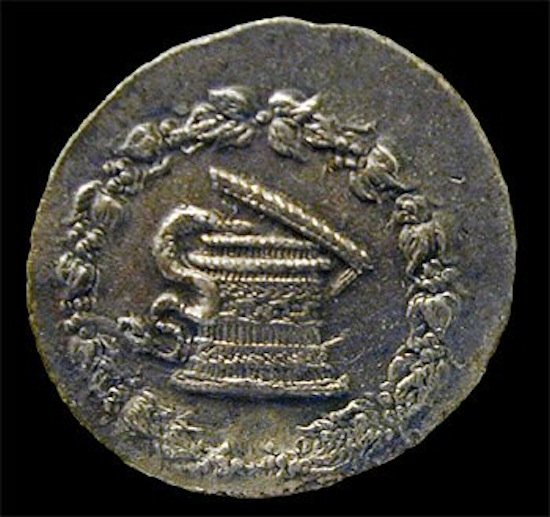 Figure 4. A basket sacred to Dionysus with a snake emerging depicted on a coin minted ~2BC in Pergamon