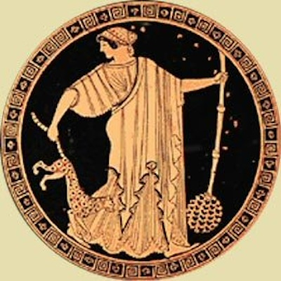 """Figure 8. Douris """"Death of Pentheus"""" cup interior, depicting a Maenad with the thyrsos of Dionysus and a cheetah (~480BC)"""