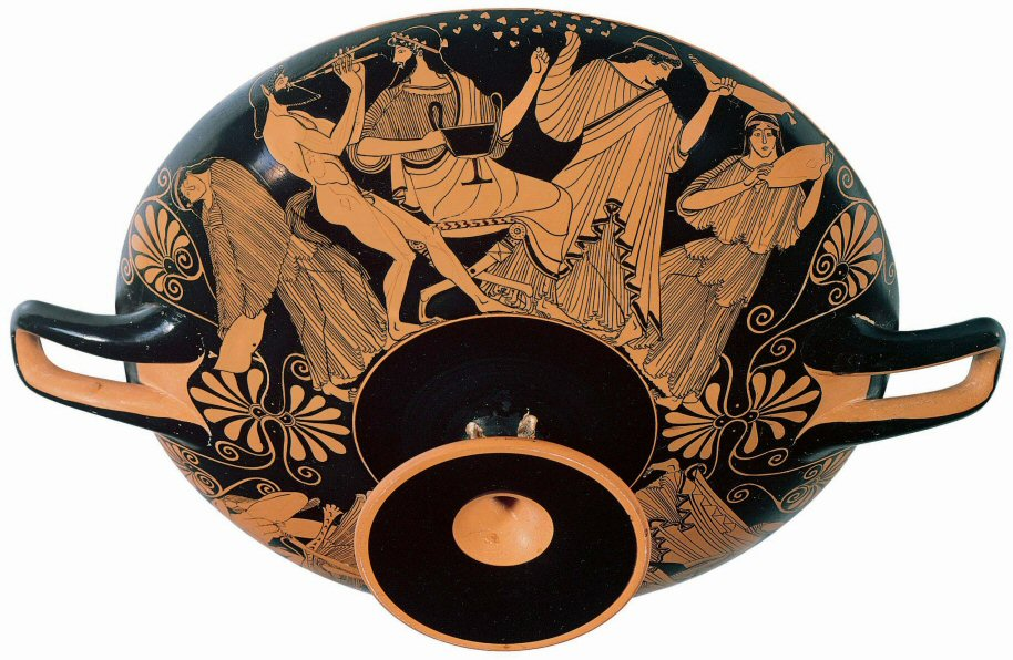 """Figure 9. Douris """"Death of Pentheus"""" cup exterior, depicting a Maenad brandishing a lower leg of Pentheus before the enthroned Dionysus (~480BC)"""