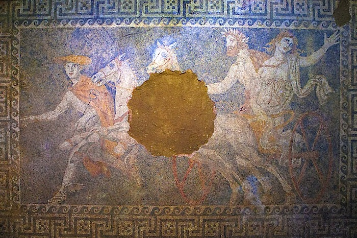 Figure 1: The new mosaic depicting the Abduction of Persephone fully revealed