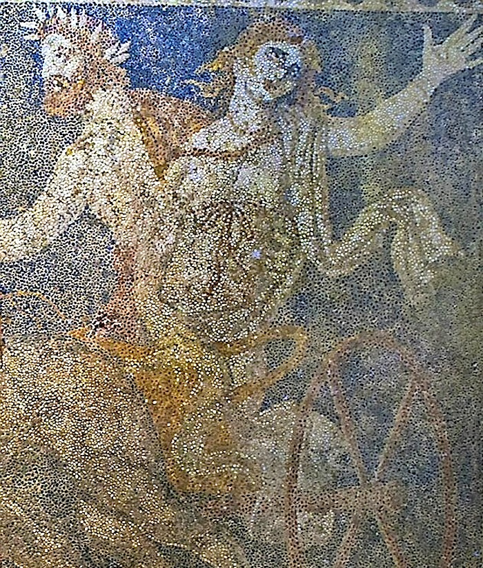 Figure 2: Hades abducts Persephone in his chariot: she flails her left arm in distress