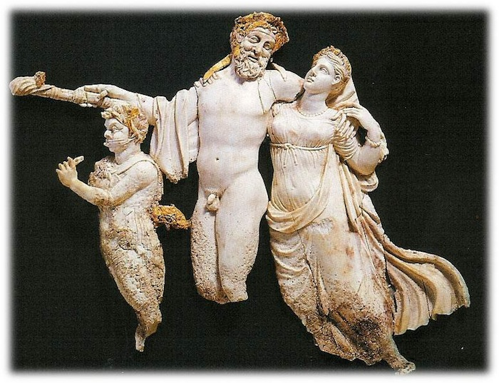 Figure 5: Ivory from the Prince's tomb (Tomb III) at Vergina possibly representing Philip and Olympias as a god and goddess and Alexander as Pan.