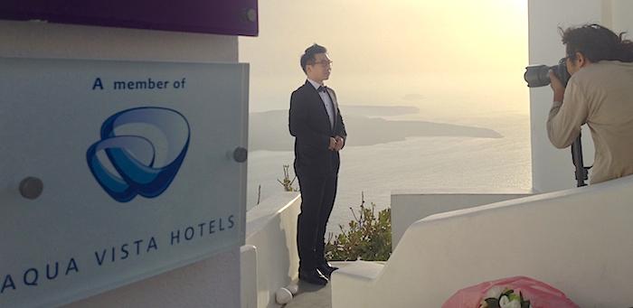 Chinese torist in Santorini