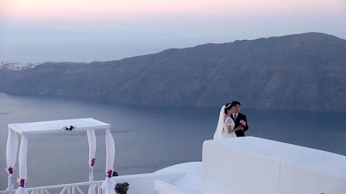 Chinese couple in Santorini