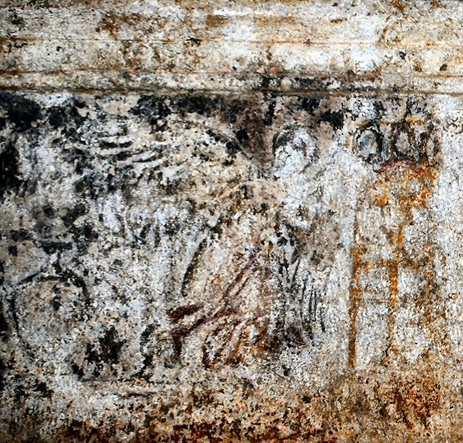 Figure 13. A winged woman between a large urn and a brazier on a tall tripod in a painting from the burial chamber of the Amphipolis tomb