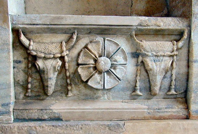 Figure 14. Frieze with garlanded bulls' heads and a rosette from the Arsinoe Rotunda in the Sanctuary of the Great Gods on Samothrace.