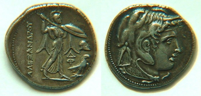 Figure 2. A tetradrachm of Alexander's general Ptolemy minted in ~310BC with Athena bearing a shield and wielding a spear