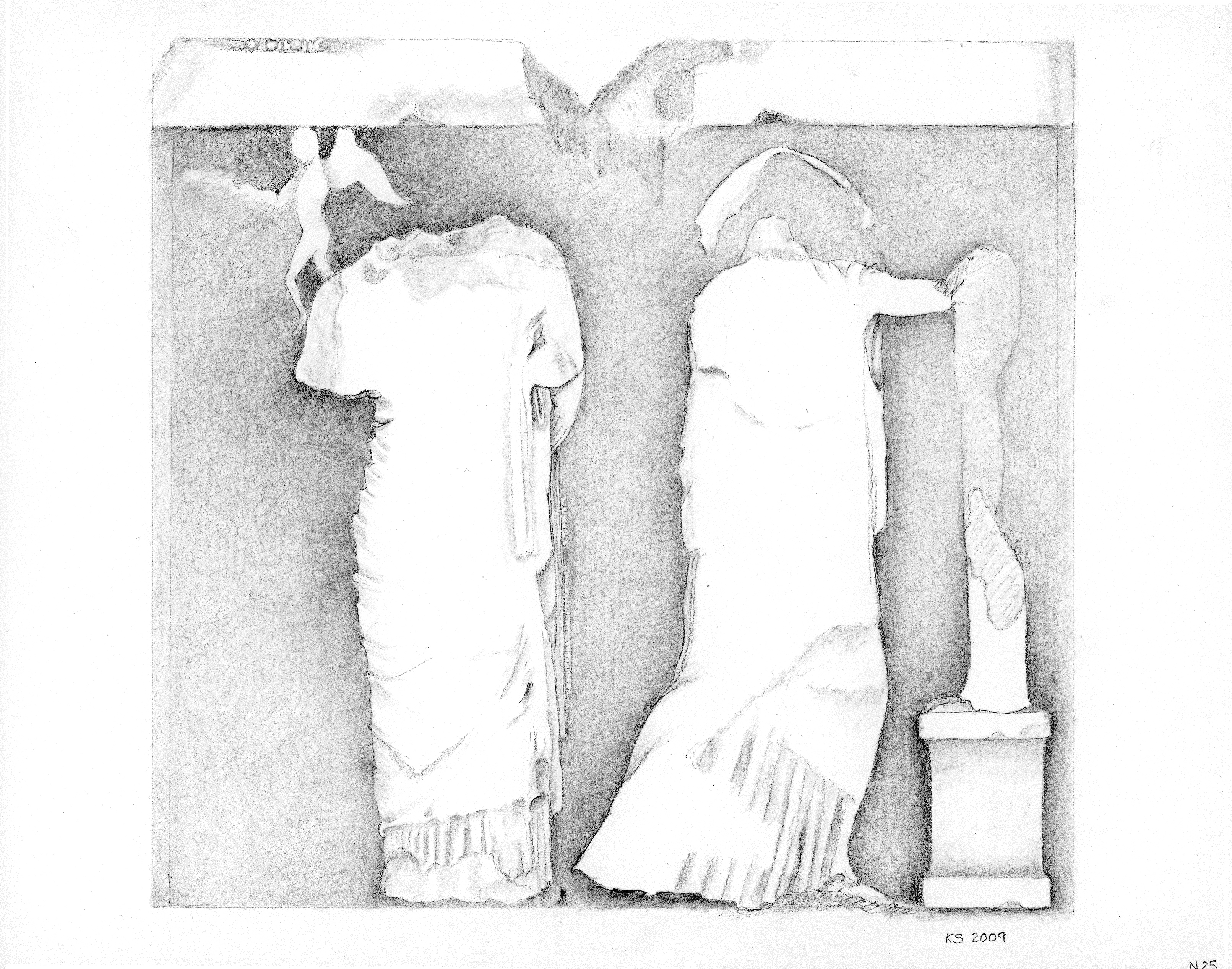 Katherine A. Schwab Parthenon North Metope 25: Eros and Aphrodite protect Helen as she runs to a statue of Athena, 2009 Graphite on paper 8 3/4 x 10 15/16 inches (sheet) On loan from the Bellarmine Museum of Art, Fairfield University