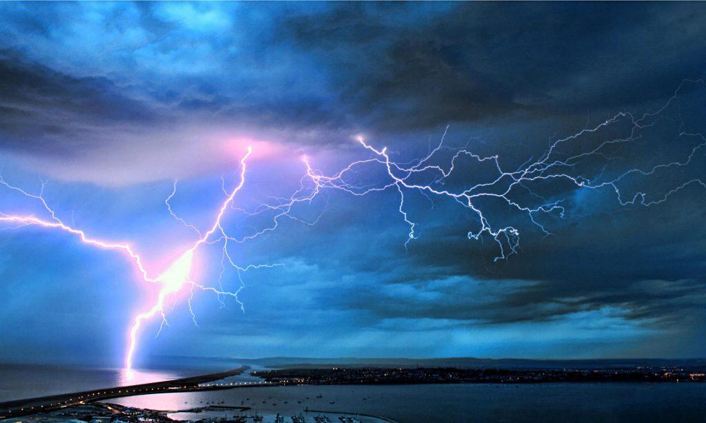 Lightning over the Dorset coast in the UK