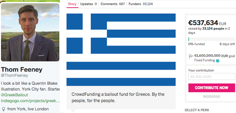 Greek Bailout Fundraising Campaign