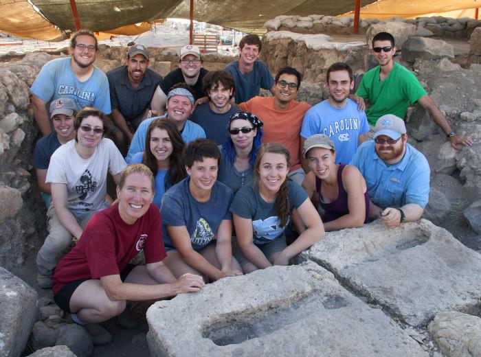 Professor Jodi Magness and UNC Chapel Hill students at the Huqoq