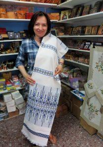 Vasiliki Georgalis with tablecloth