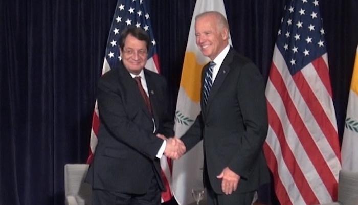 Cyprus President Anastasiades Meets US VP Joe Biden on September 29, 2015