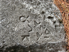 Figure 7. Ancient graffiti inscriptions on blocks dredged from the River Strymon in the early 20th century but originally from the peribolos of the Amphipolis Tomb.