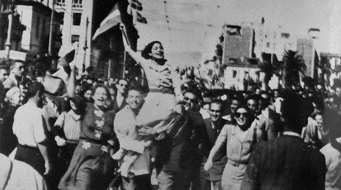 Athenians celebrating the end of the German occupation, October 1944.