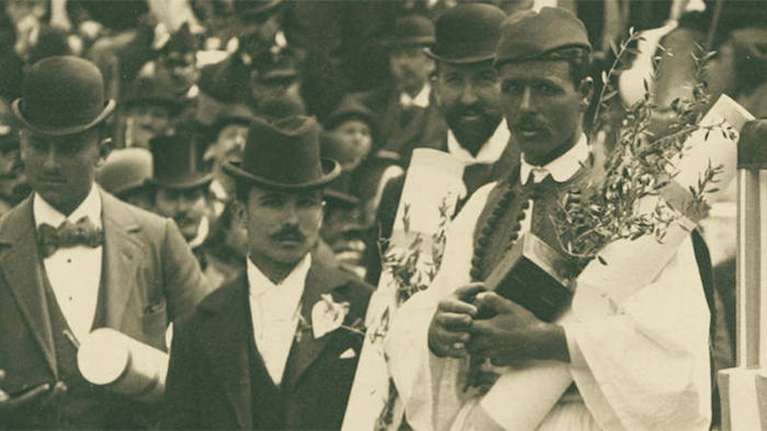 Spyridon (Spyros) Louis during  the 1896 Olympic Games' ceremony in Athens, Greece.