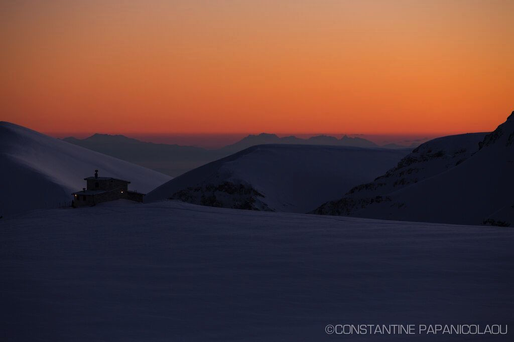 Greek snow sunset