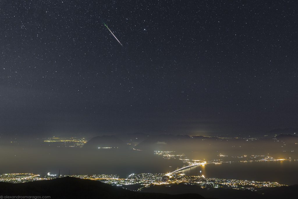 A Perseid Meteor over the Rio Antirio bridge, Gulf of Corinth, Greece during the Perseid Meteor Shower 2016.