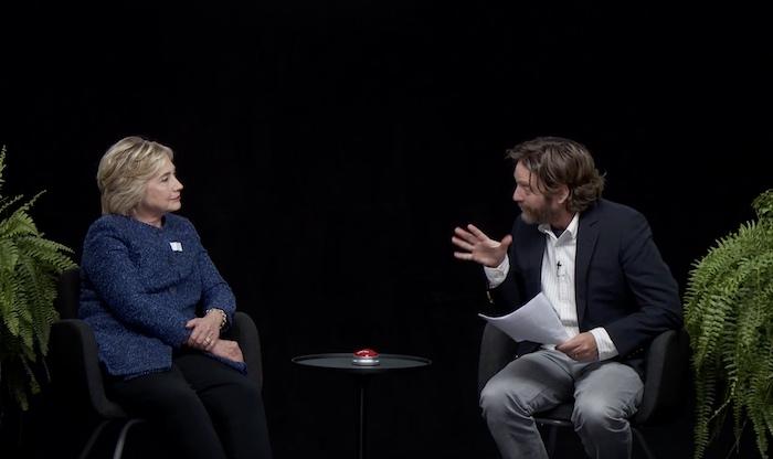 Zach Galifianakis and Hillary Clinton