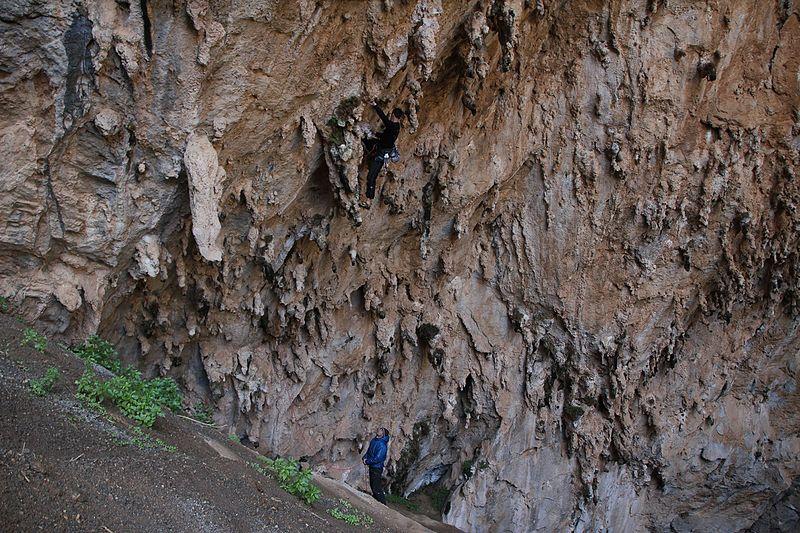 Climbing cave Kalymnos rock