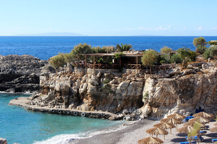 Taverna on top of Marmara Beach, Crete