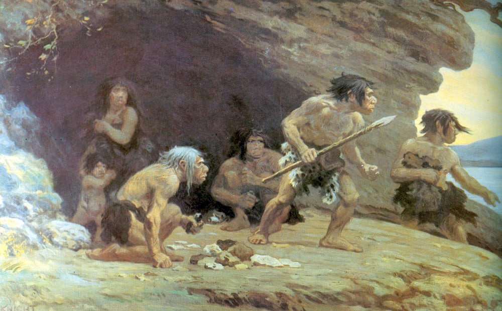 Neanderthals with Stone Age Tools in Crete