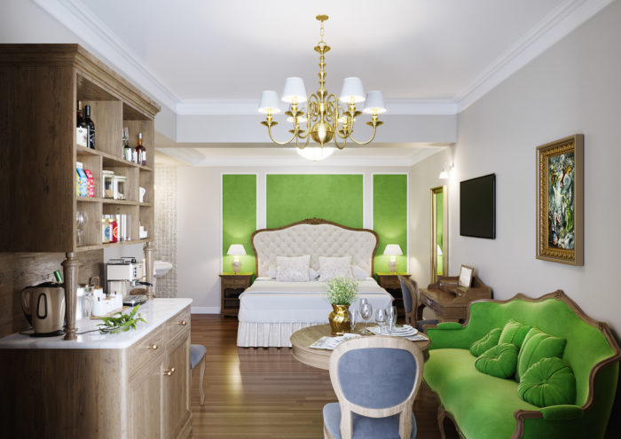 Legacy Gastro Suites, room inspired in the work of the Cretan painter El Greco, food station corner