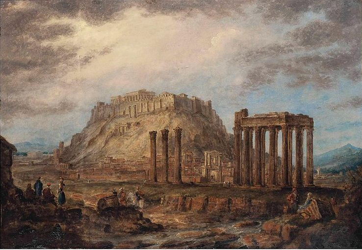 The Temple of the Olympian Zeus and the Acropolis in Athens in 1830