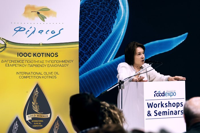 Antonia Trichopoulou addressing the audience at the Food Expo in Athens