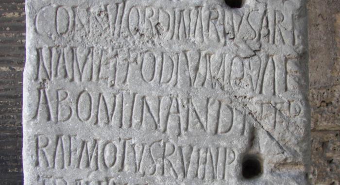 Latin inscription in the Colosseum of Rome