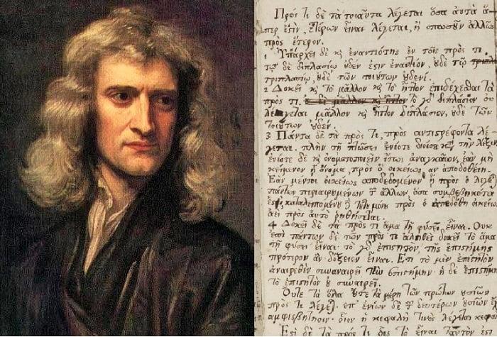 Part of Sir Isaac Newton's Manuscripts Were Written in Greek