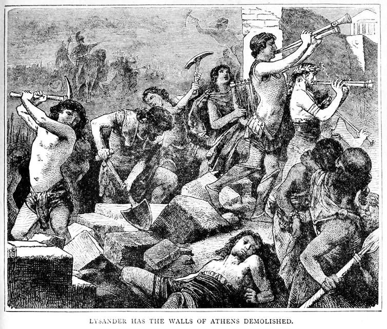 The Spartan general Lysander orders the walls