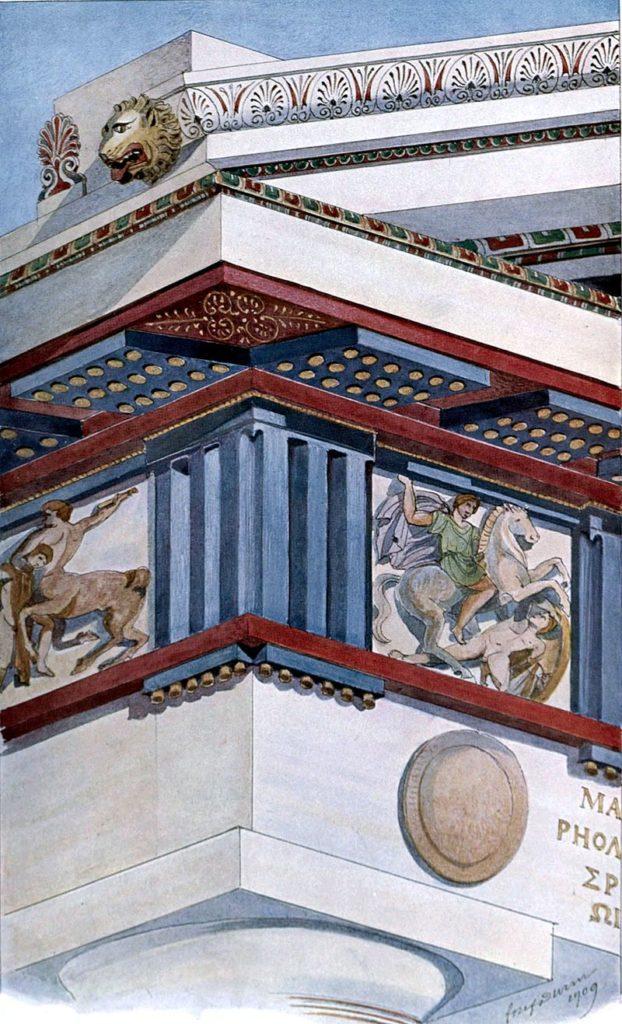 painted color sculpture ancient greek